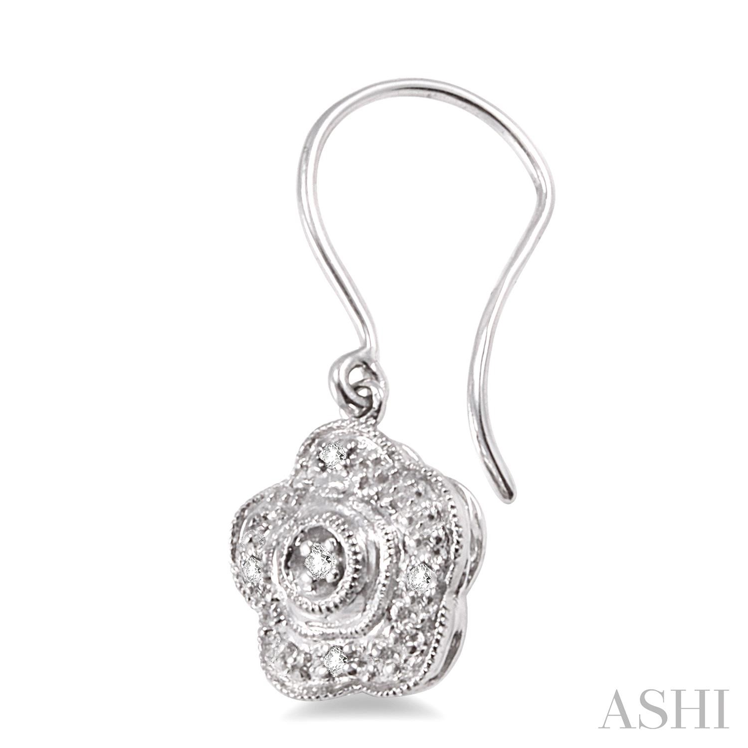 Flower Shape Silver Diamond Earrings