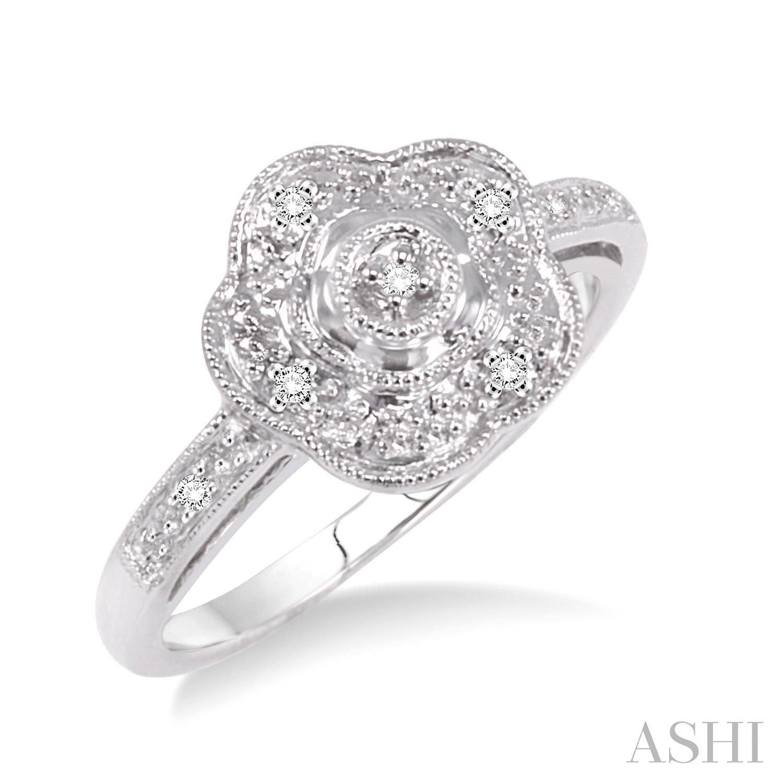 Flower Shape Silver Diamond Ring