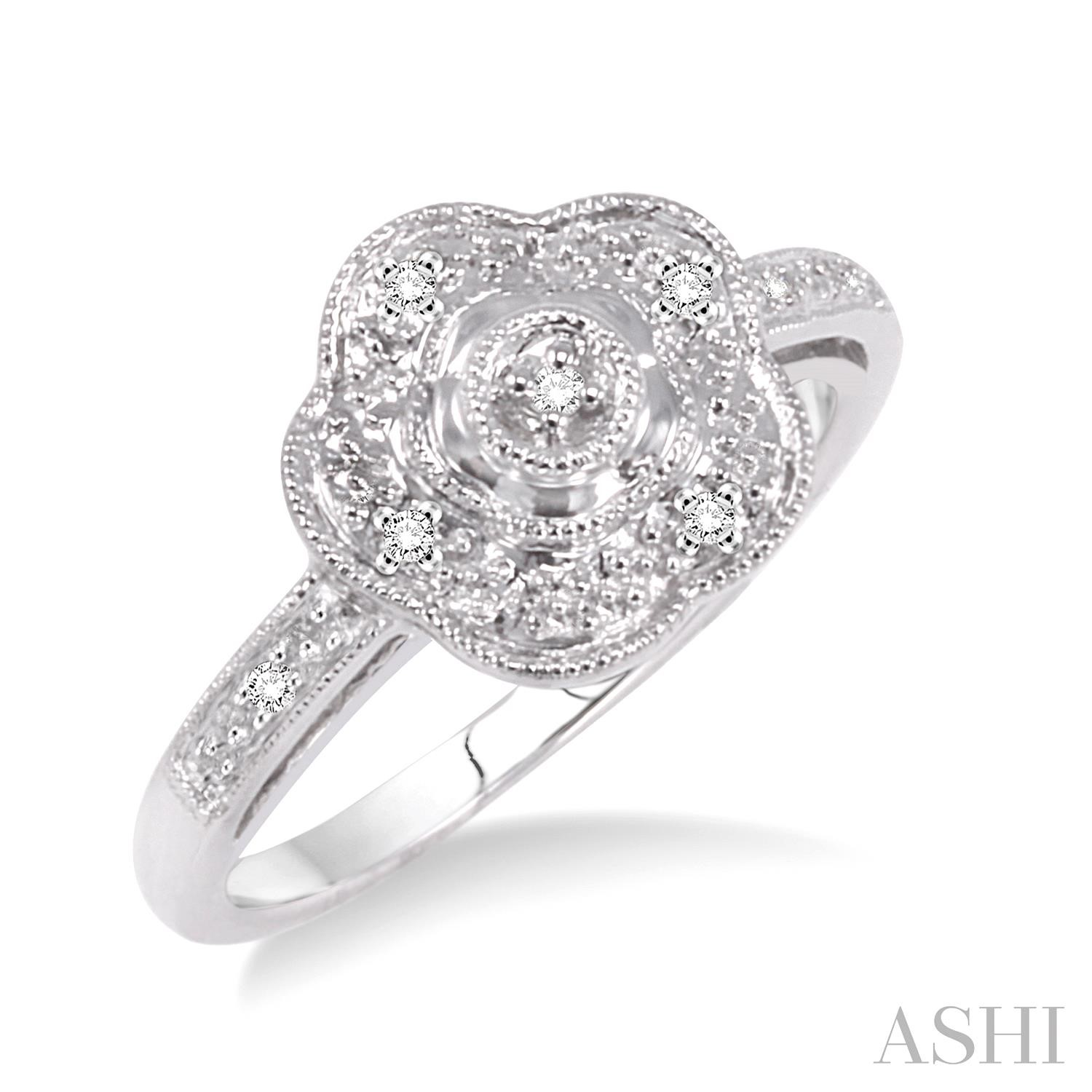 Flower Shape Silver Diamond Ring