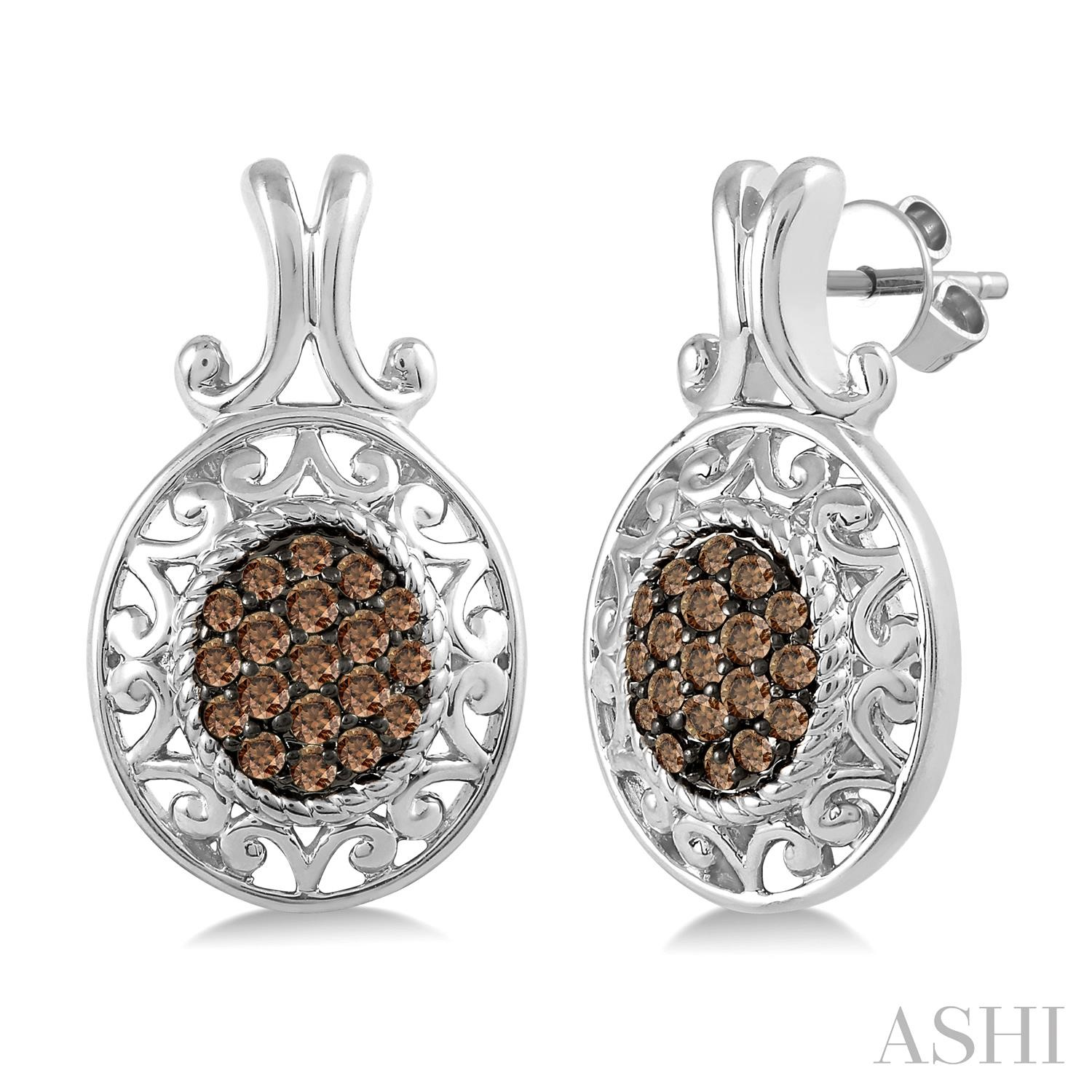 OVAL SHAPE SILVER CHAMPAGNE DIAMOND EARRINGS