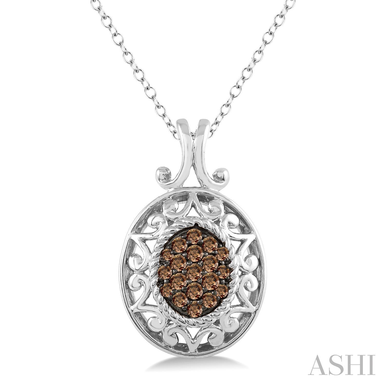 Oval Shape Silver Champagne Diamond Pendant