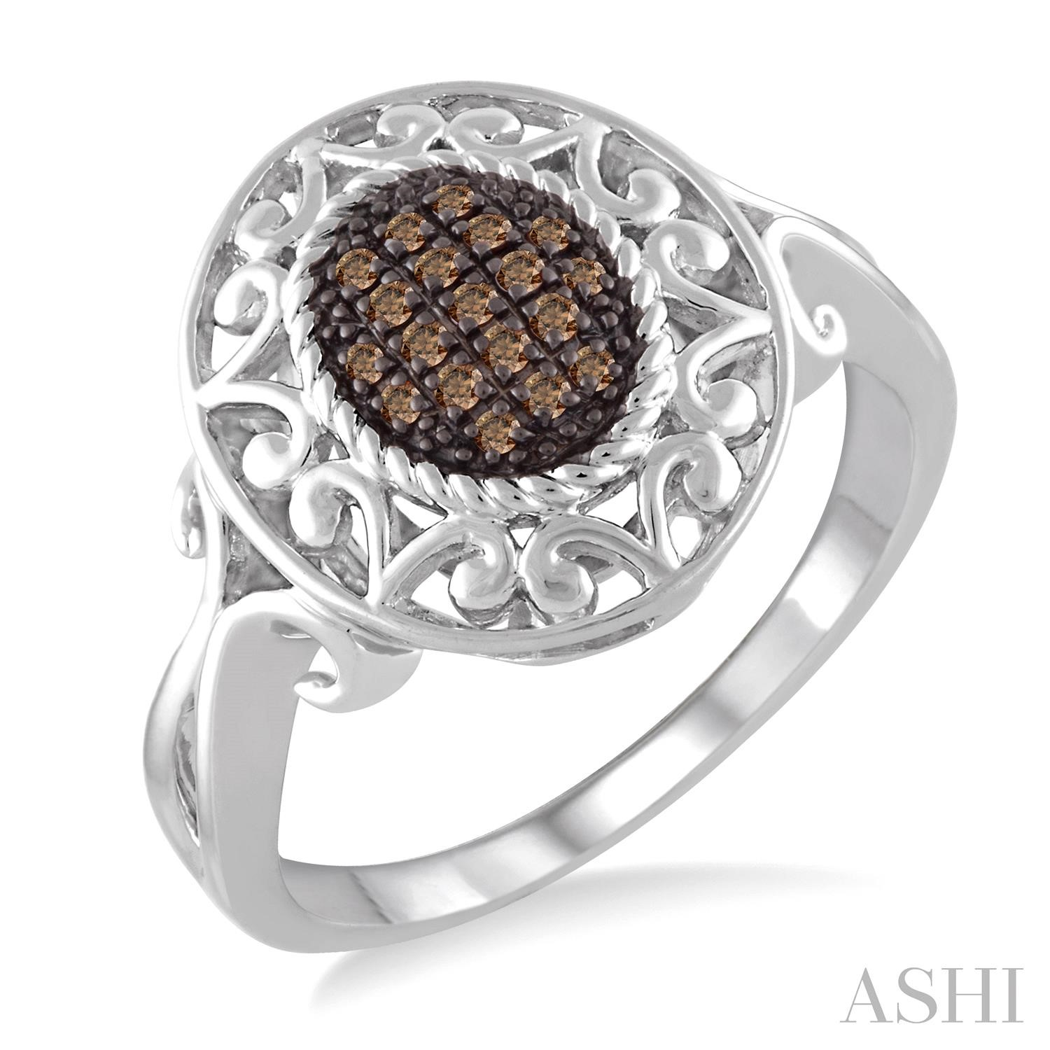 Oval Shape Silver Champagne Diamond Ring
