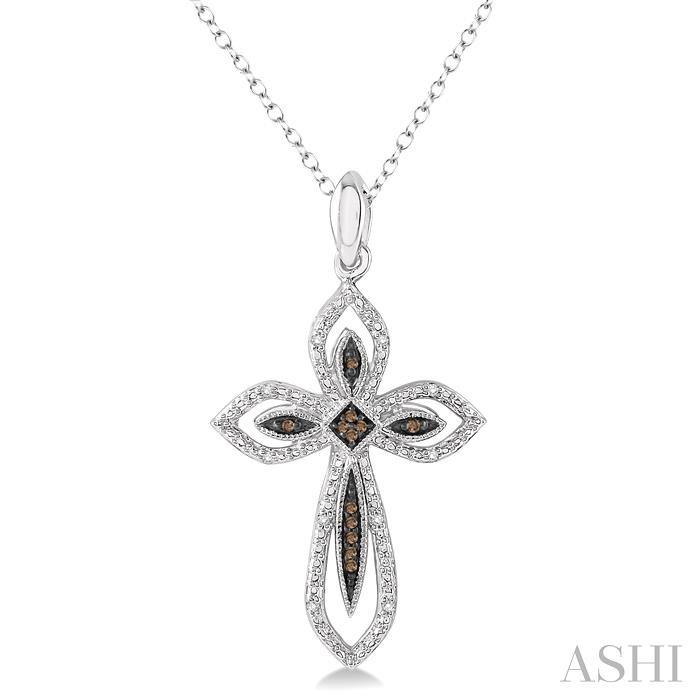 Silver Cross Champagne Diamond Pendant