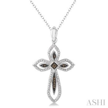 Silver Cross Champagne Diamond Pendant