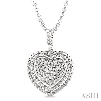 SILVER HEART DIAMOND PENDANT