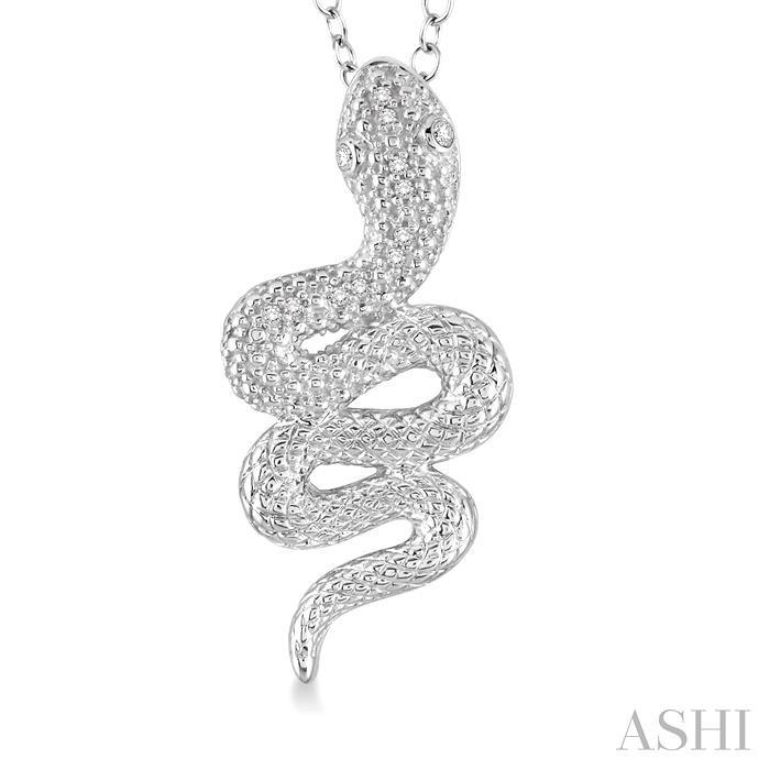 Silver Snake Diamond Pendant
