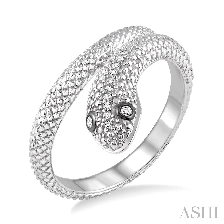 Silver Snake Diamond Ring