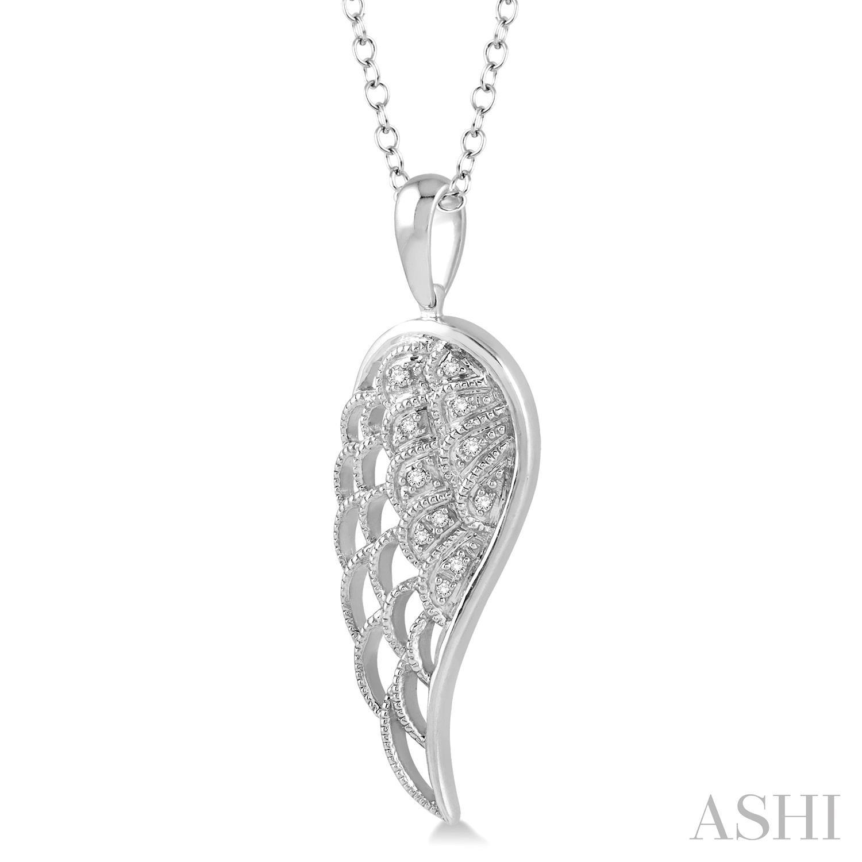 Silver Angel Wing Diamond Pendant