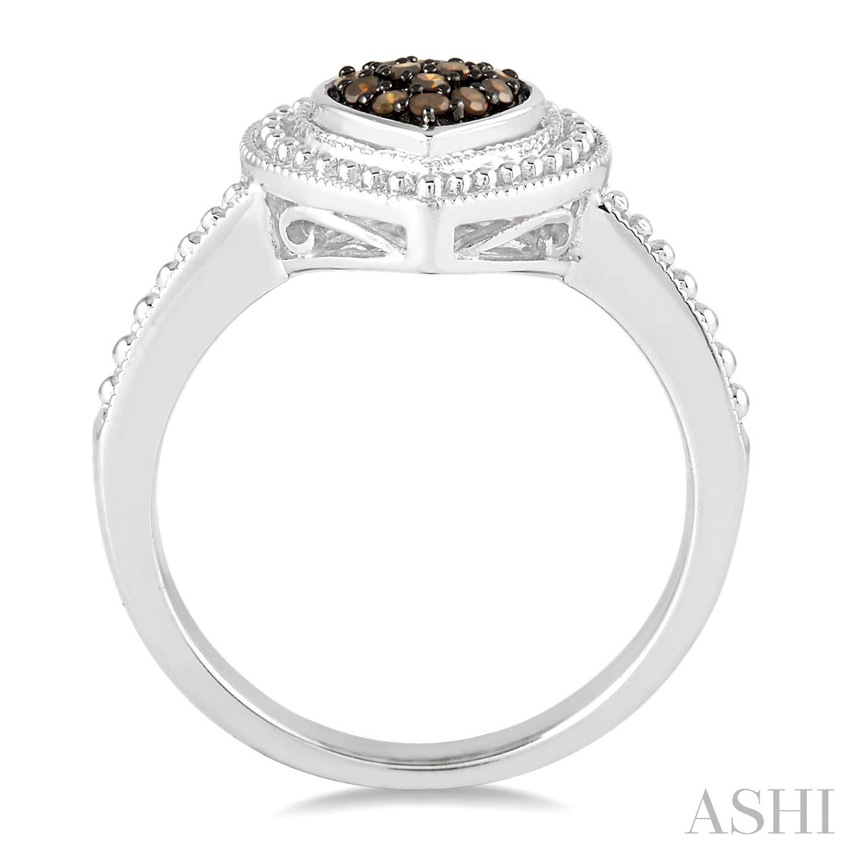 Silver Heart Shape Champagne Diamond Ring