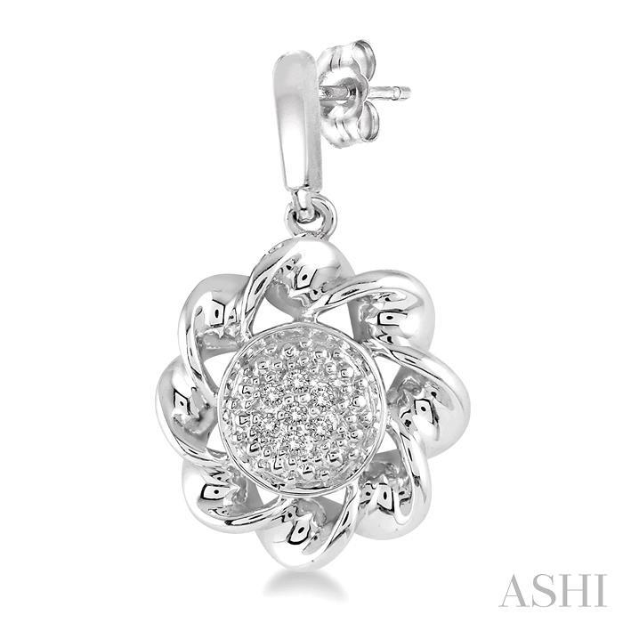 Silver Twisted Diamond Earrings