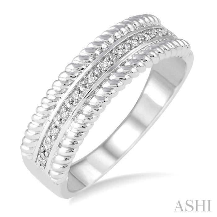 SILVER ROPE DIAMOND RING