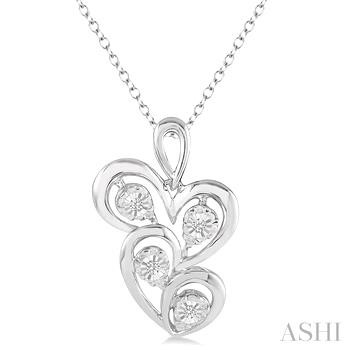 Silver Twice Heart Shape Diamond Pendant