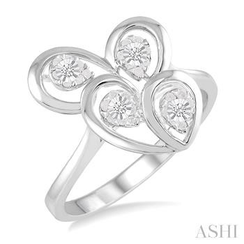 Silver Twice Heart Shape Diamond Ring