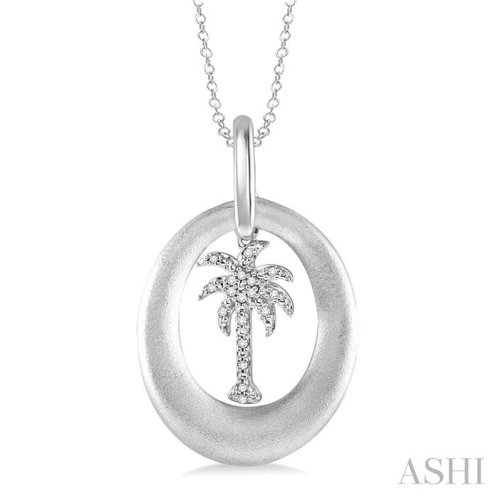 Silver Plam Tree Diamond Pendant