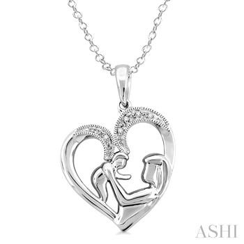 SILVER CHILD & MOM DIAMOND PENDANT