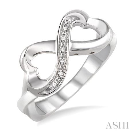 SILVER INFINITY HEART DIAMOND RING