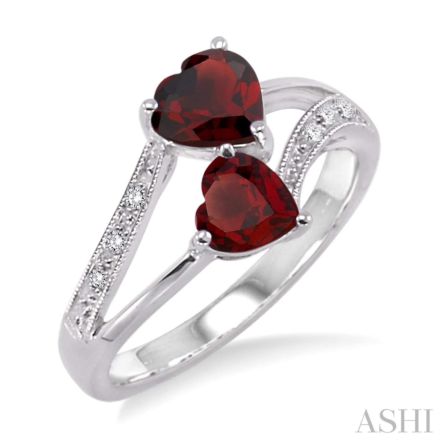 Double Heart Shape Silver Gemstone & Diamond Ring