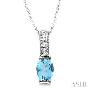 Oval Shape Silver Gemstone & Diamond Pendant