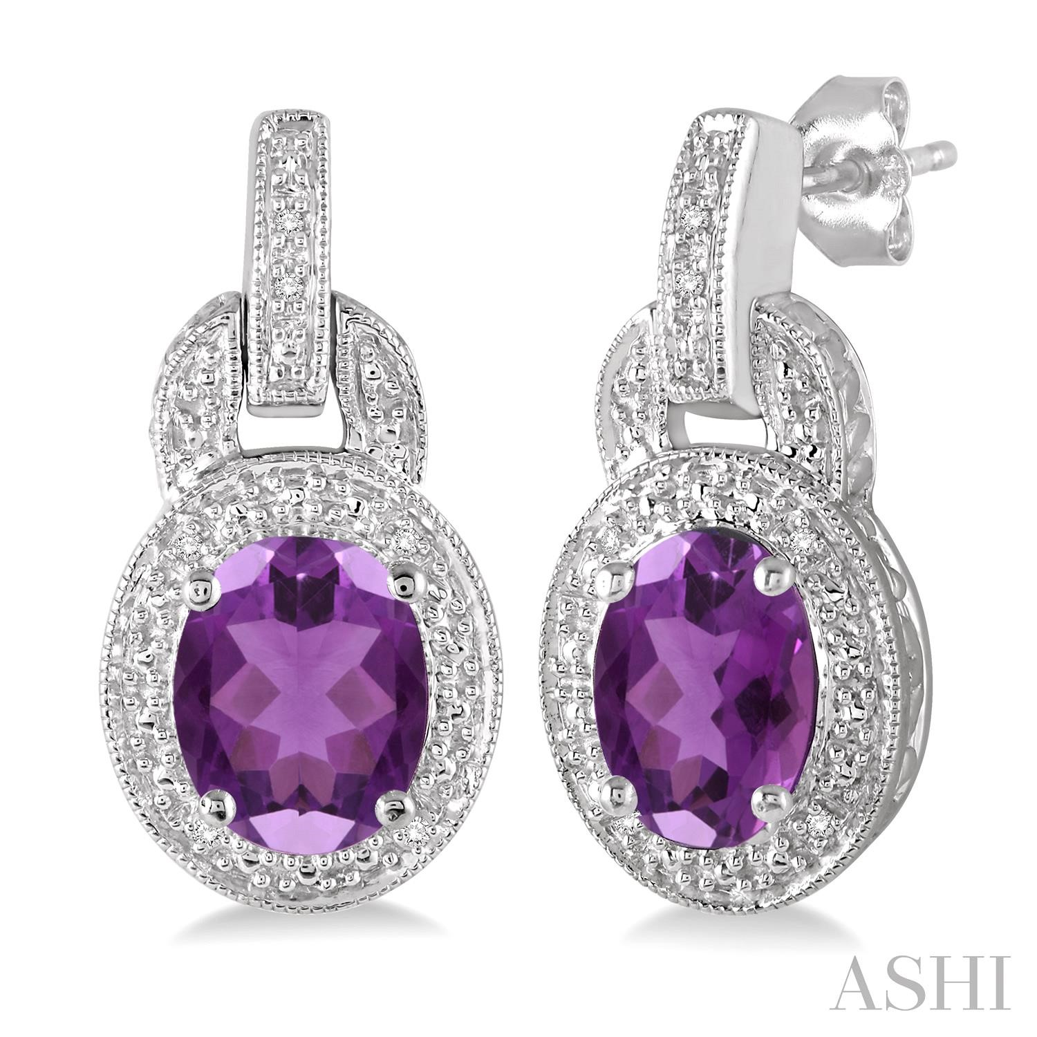 Oval Shape Silver Gemstone & Diamond Earrings
