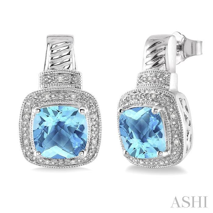 Silver Gemstone & Diamond Earrings