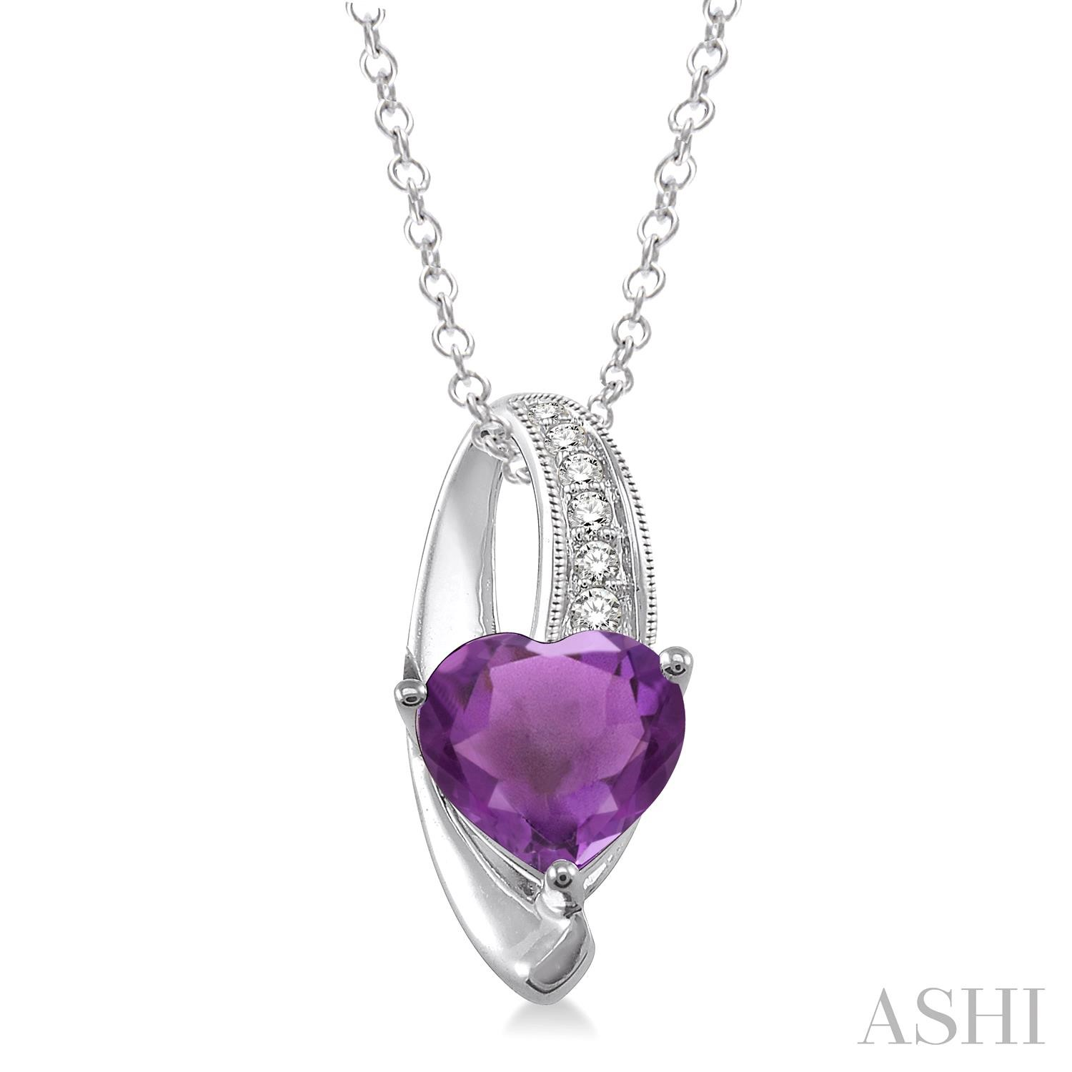Heart Shape Silver Diamond & Gemstone Pendant