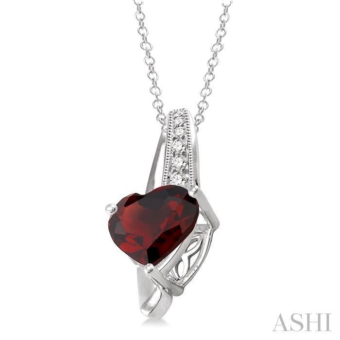 Heart Shape Silver Diamond & Gemstone Pendant