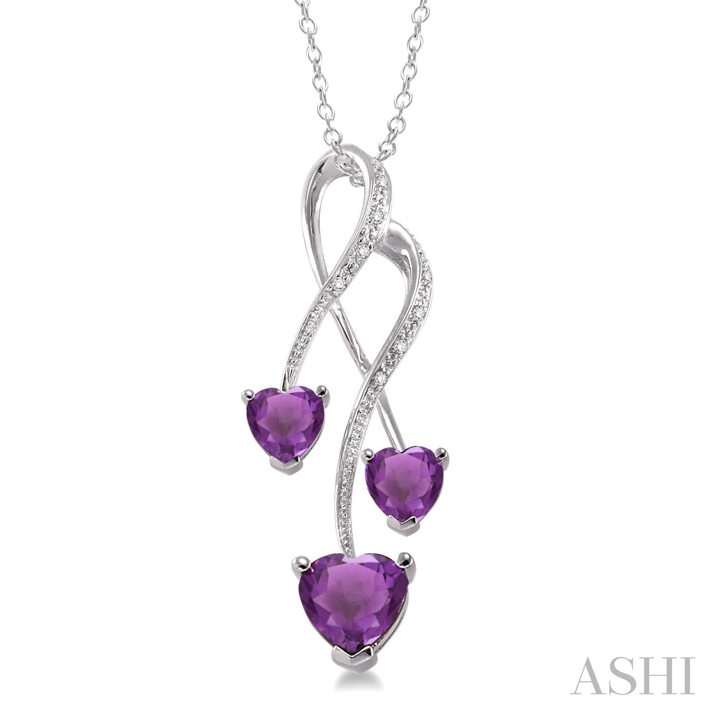 Triple Heart Shape Silver Gemstone & Diamond Pendant
