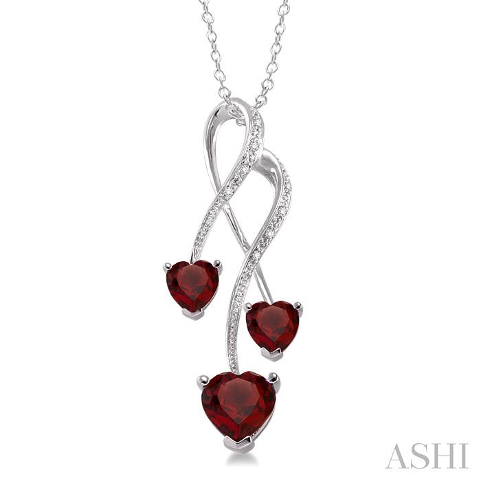Triple Heart Shape Silver Gemstone & Diamond Pendant