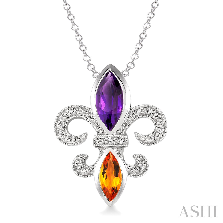 Silver Fleur De Lis Gemstone & Diamond Pendant