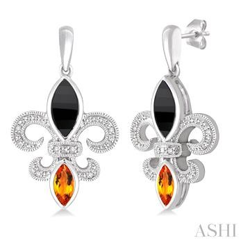 SILVER FLEUR DE LIS GEMSTONE & DIAMOND EARRINGS