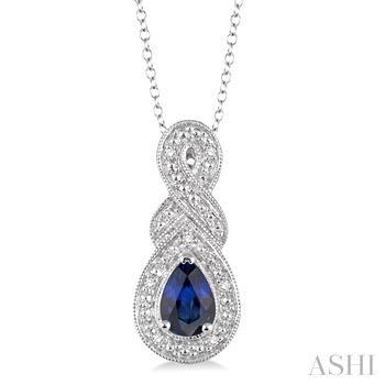 Pear Shape Silver Gemstone & Diamond Pendant