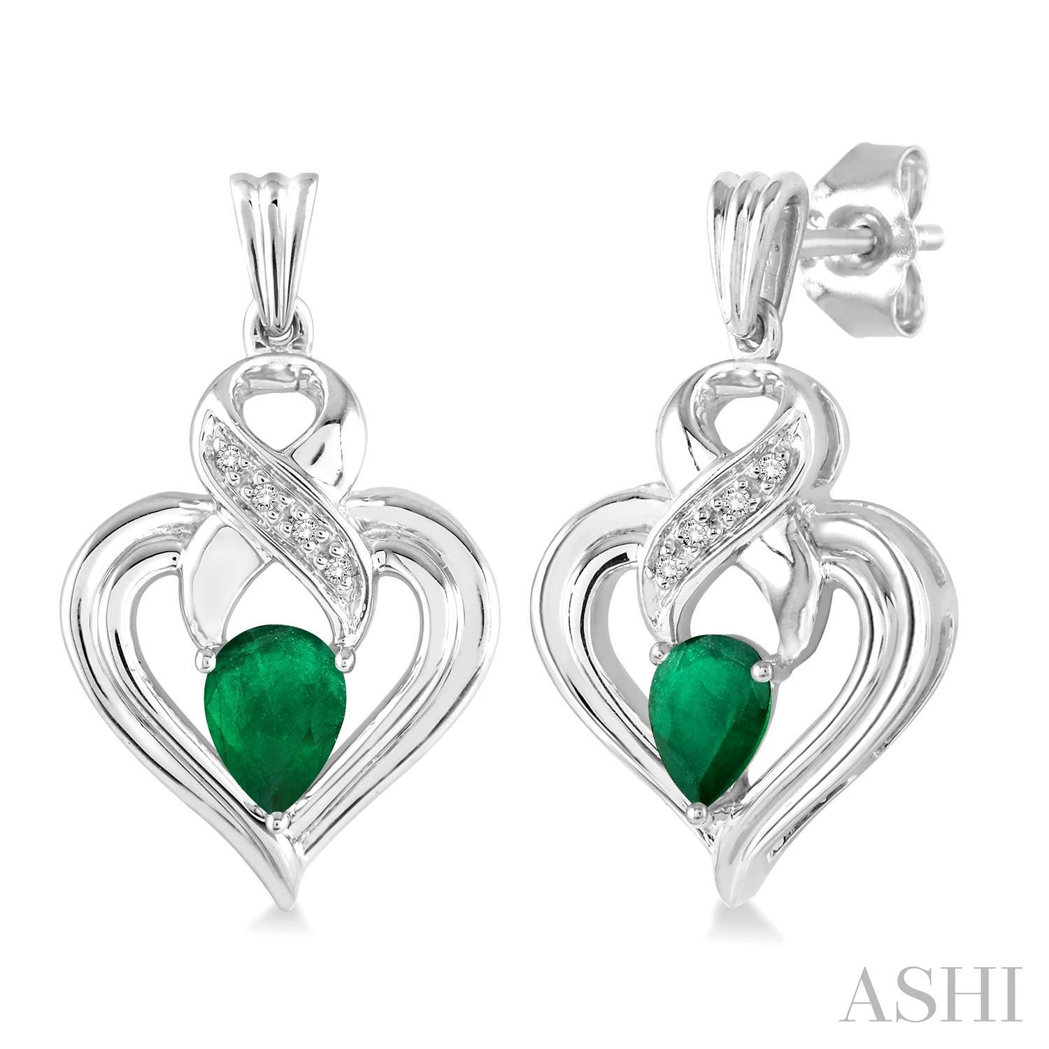 Silver Heart Shape Gemstone& Diamond Earrings
