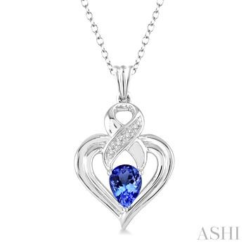 SILVER HEART SHAPE GEMSTONE& DIAMOND PENDANT