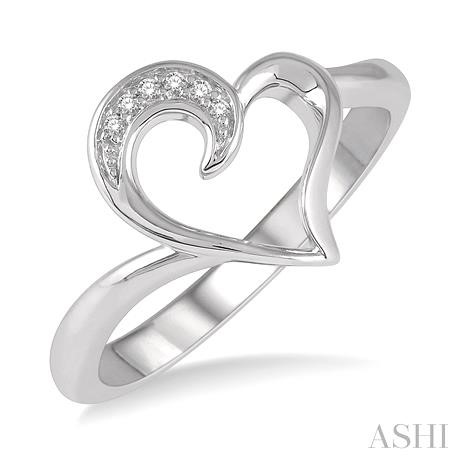 SILVER HEART DIAMOND RING