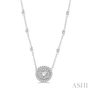 Double Halo Diamond Station Necklace