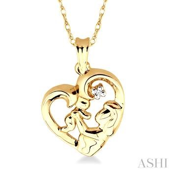Child & Mom Heart Shaped Diamond Pendant