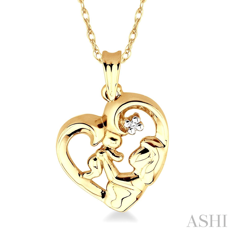 Child & Mom Heart Shaped Diamond Pendant