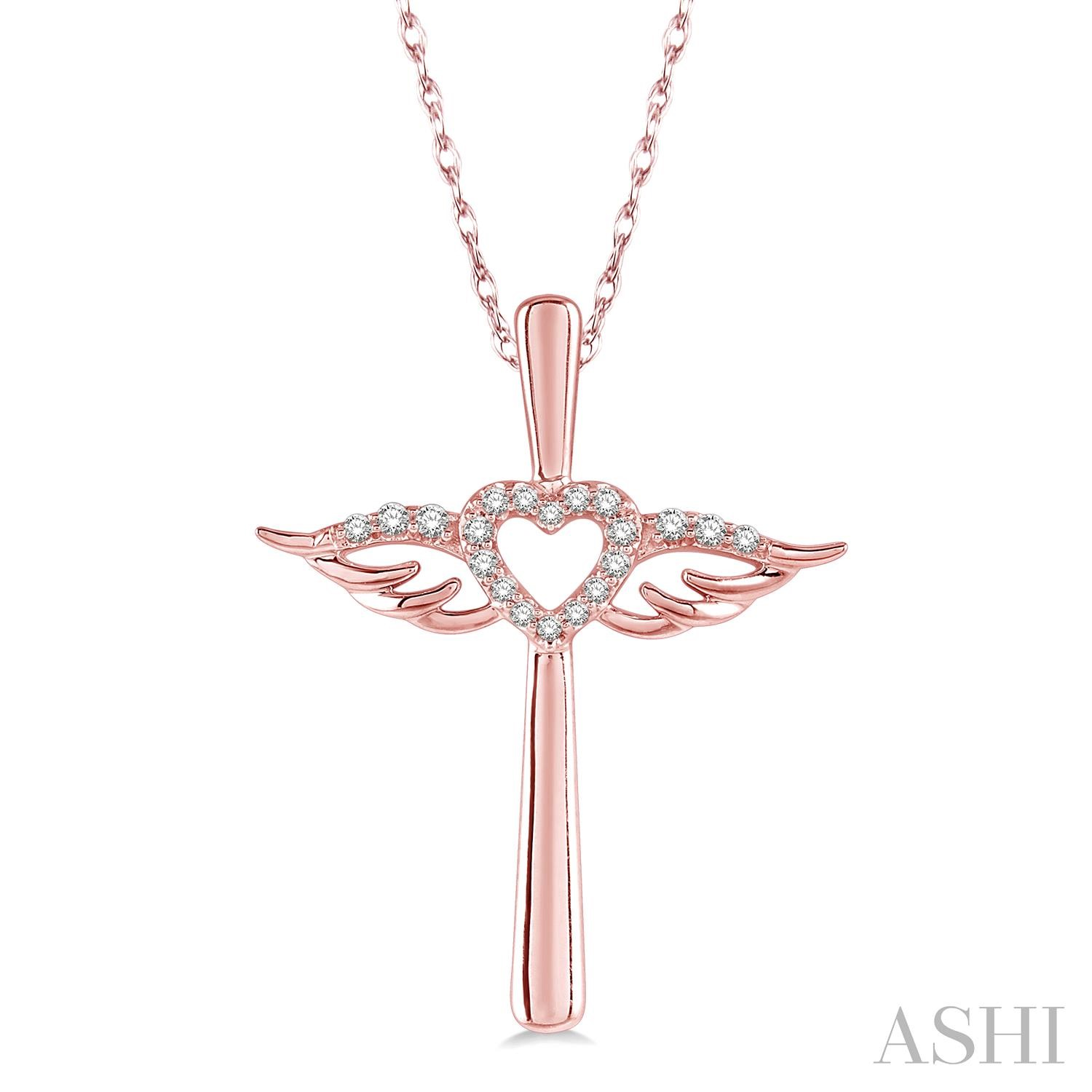 DIAMOND ANGEL WINGS HEART & CROSS PENDANT