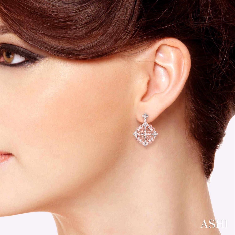 Flower Shape Diamond Earrings