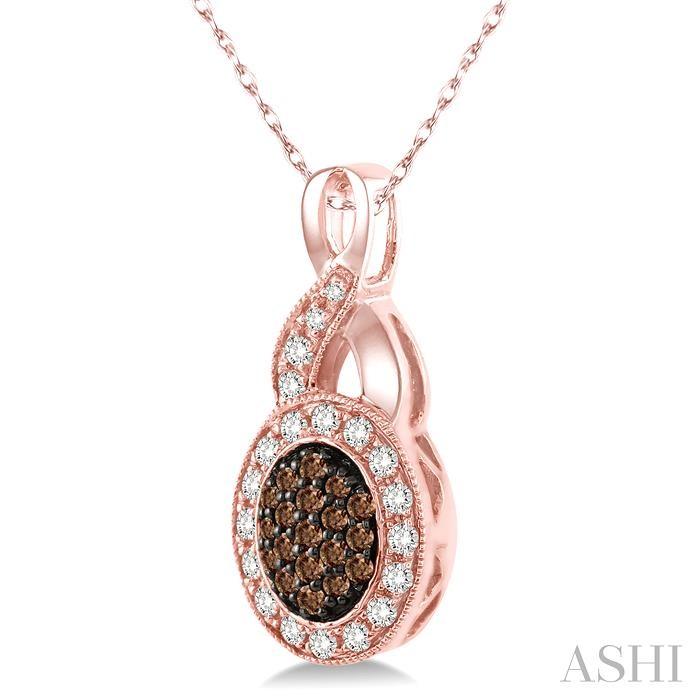 Oval Shape Champagne Diamond Pendant
