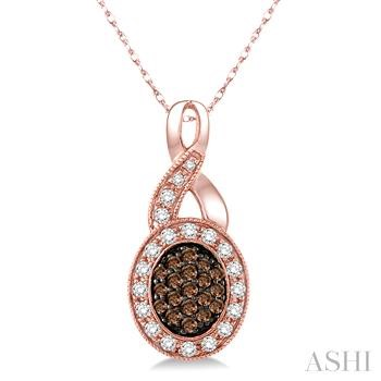 Oval Shape Champagne Diamond Pendant