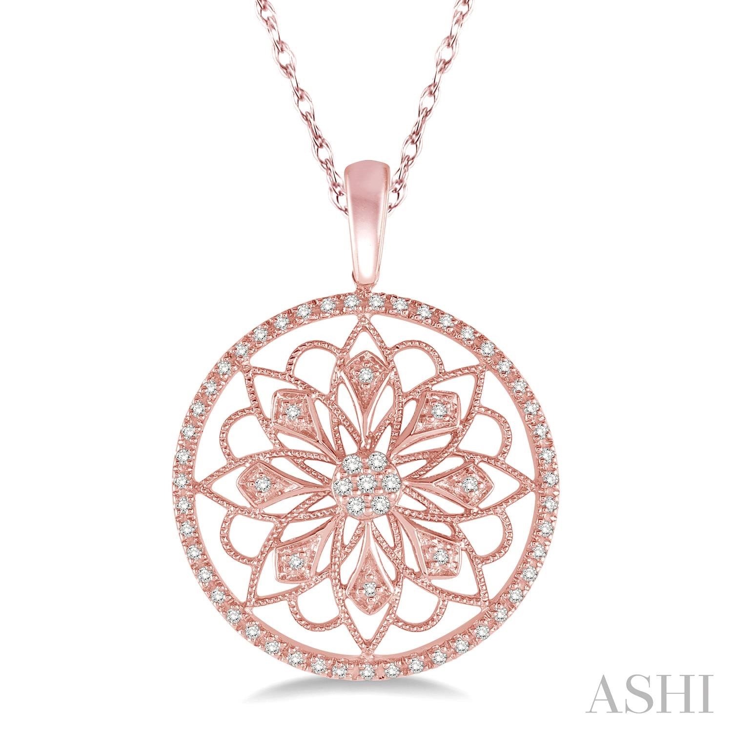 CIRCLE FLORAL DIAMOND PENDANT