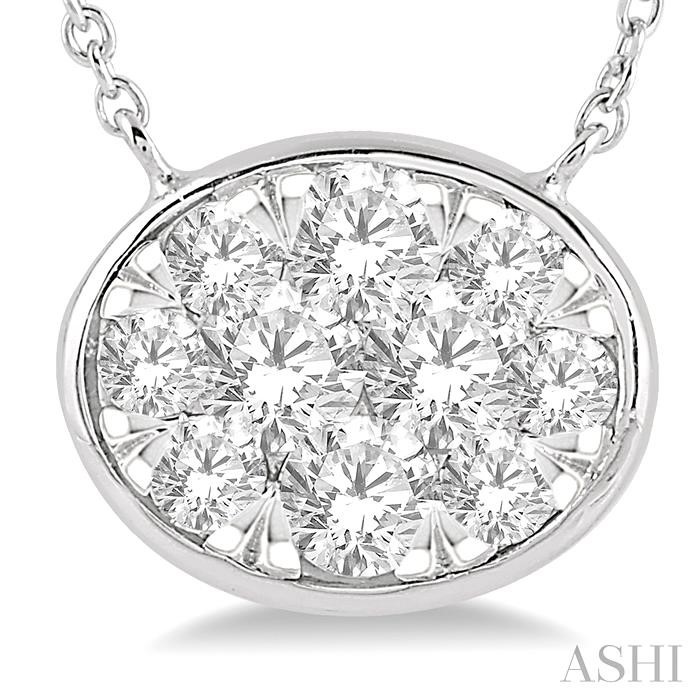 OVAL SHAPE LOVEBRIGHT ESSENTIAL DIAMOND NECKLACE