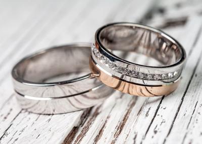Custom Two-Tone and Diamond Wedding Bands