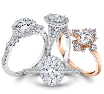 White and Rose Gold Diamond Engagement Rings in Modern Styles