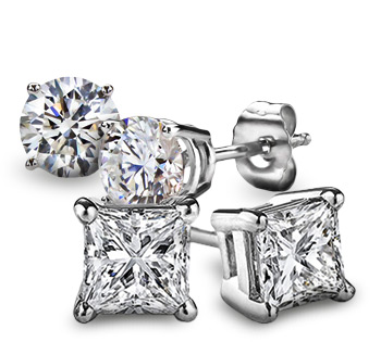 Round & Princess Cut Diamond Stud Earrings in White Gold