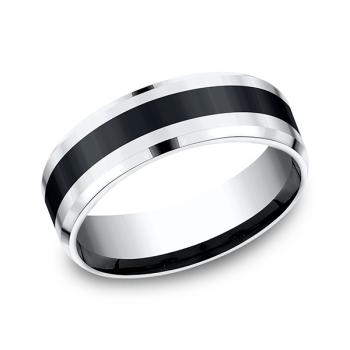 Cobalt and Ceramic Comfort-Fit Design Wedding Band