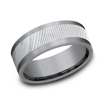 Tantalum And Damascus Steel Comfort-Fit Design Wedding Band