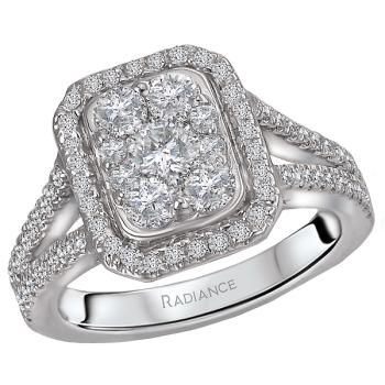 Split Shank Diamond Cluster Ring