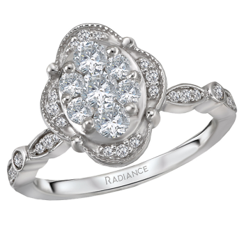 Halo Diamond Cluster Ring